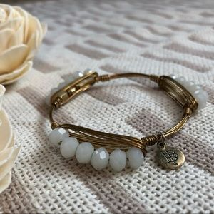 B&B White & Gold Wire Wrap Bracelet